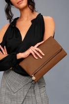 Lulus   Get Up And Go Tan Clutch   Brown   Vegan Friendly