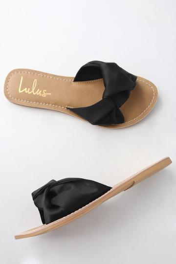 Makenzie Black Satin Slide Sandal Heels | Lulus