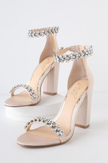 Jewel By Badgley Mischka Mayra Champagne Satin Rhinestone Ankle Strap Heels   Lulus