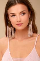 Lulus Wings Of The Wind Gold And Beige Fringe Earrings