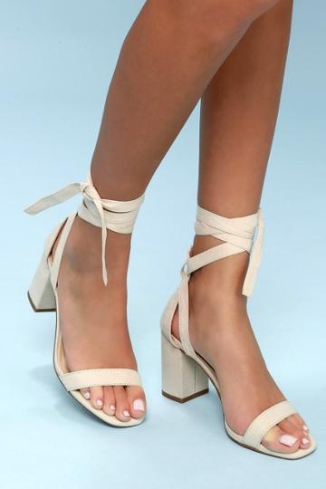 Airis Nude Suede Lace-up Heels | Lulus