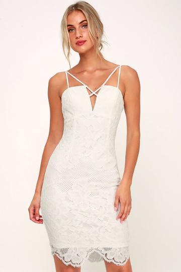 Milestone White Lace Strappy Bodycon Dress | Lulus