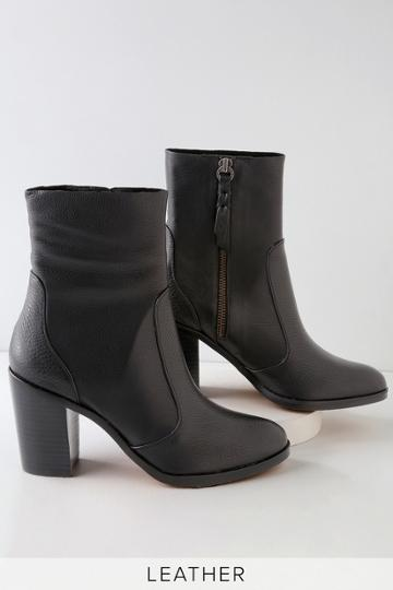 Splendid Roselyn Black Leather Mid-calf Booties   Lulus