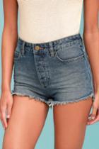 Amuse Society   Kenzie Medium Wash Cutoff Denim Shorts   Size 26   Blue   100% Cotton   Lulus