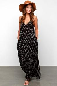 Love Stitch Yours Tule Black Floral Print Maxi Dress
