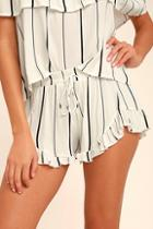 Lulus Curiosity White Striped Shorts
