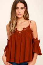 Lulus Daily Devotion Rust Red Lace Off-the-shoulder Top