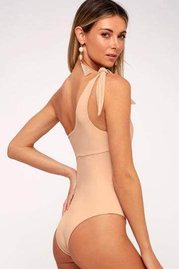 Tavik Kenton Nude One-shoulder One-piece Swimsuit | Lulus