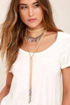 Lulus | Ojai Silver And Beige Necklace Set | Vegan Friendly