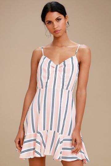 Bb Dakota Hollie White Striped Sleeveless Dress   Lulus