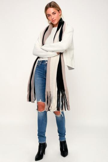 Billabong On The Fringes Black Muli Striped Oversized Scarf | Lulus