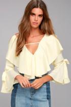 Lulus | Fancy Flair Cream Long Sleeve Top | Size Medium | White