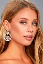 Lulus Luster And Light White Rhinestone Earrings