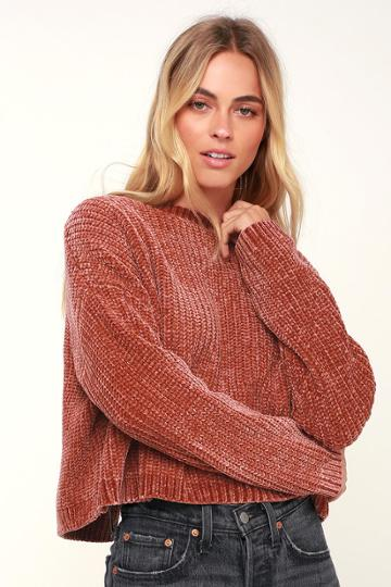 Blank Nyc Malia Rusty Rose Chenille Backless Sweater | Lulus