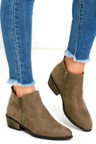Lulus Wander My Way Taupe Suede Ankle Booties