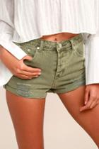 Emory Park Acacia Washed Olive Green Distressed Denim Shorts