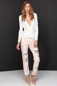 Blank Nyc Ditz Distressed Pink Boyfriend Jeans