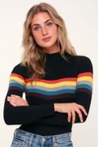 Loki Black Striped Ribbed Sweater Top | Lulus