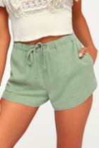 Rvca New Yume Sage Green Drawstring Shorts | Lulus