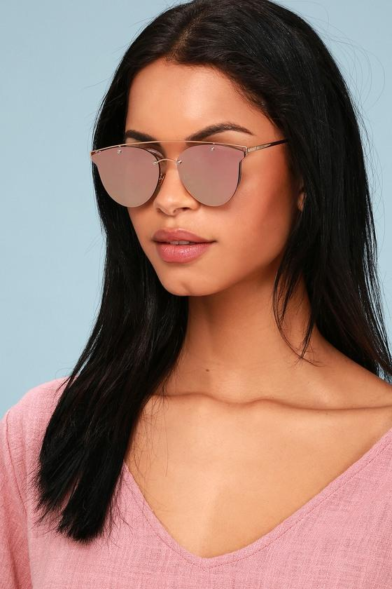 7950d16b86512 Perverse Mae Rose Gold And Pink Mirrored Sunglasses