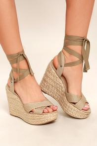Lulus Esme Natural Lace-up Espadrille Wedges