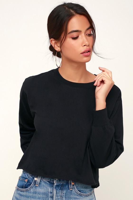Z Supply Tatumn Black Long Sleeve Cropped Tee | Lulus