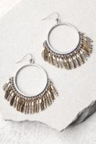 Lulus | Plume Gold And Silver Hoop Earrings