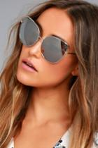 Lulus | Queenie Silver And Grey Mirrored Sunglasses | 100% Uv Protection