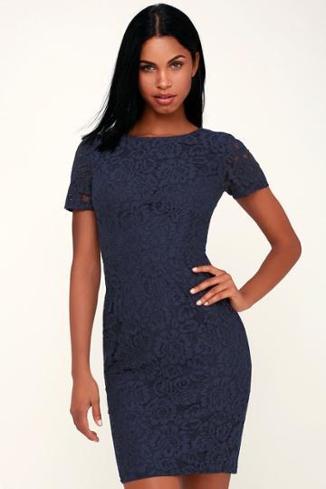 Polished To Perfection Navy Blue Lace Midi Dress | Lulus