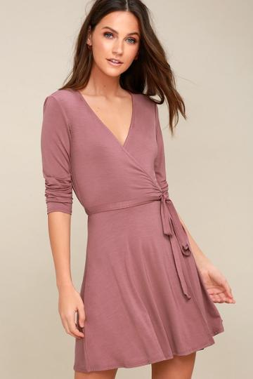 Twirl-worthy Mauve Wrap Dress | Lulus