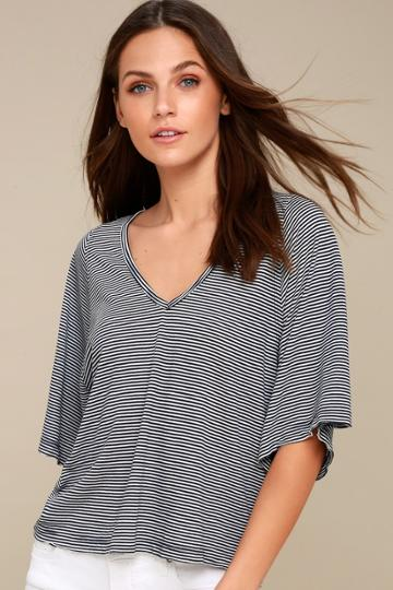 Project Social T Keirnan Navy Blue And White Striped Top | Lulus