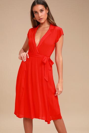 Always Adored Red Surplice Midi Dress   Lulus