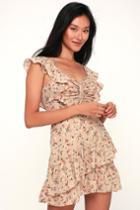 J.o.a. Besk Beige Floral Print Ruffled Mini Dress | Lulus