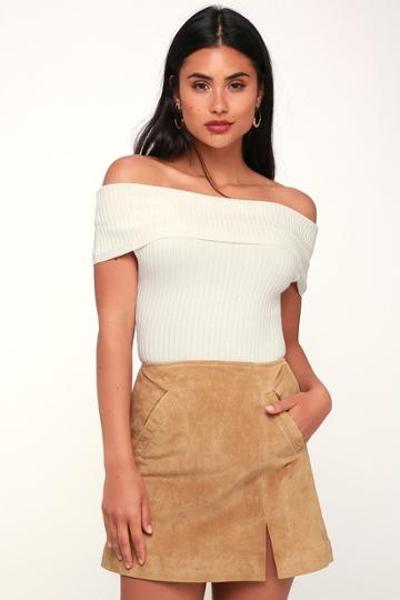 Blank Nyc Venice Beach Tan Genuine Suede Leather Mini Skirt | Lulus