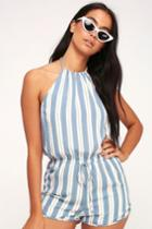 Pier And Simple Blue And White Striped Halter Romper | Lulus