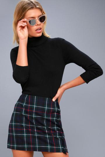 Bb Dakota Graham Forest Green Plaid Mini Skirt   Lulus