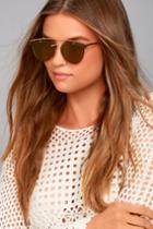 Lulus | Love Me Better Gold And Yellow Mirrored Sunglasses