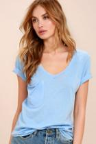 Z Supply Pleasant Surprise Light Blue Tee