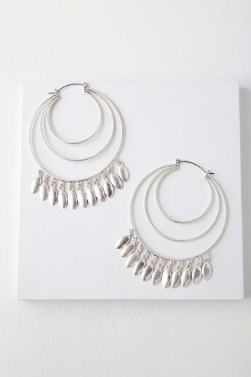 Cyrene Silver Hoop Earrings | Lulus