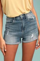Sneak Peek | Sing Along Light Wash Distressed Denim Shorts | Size Medium | Blue | Vegan Friendly | Lulus