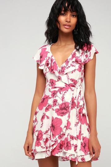 Free People French Quarter Ivory Floral Print Wrap Dress | Lulus