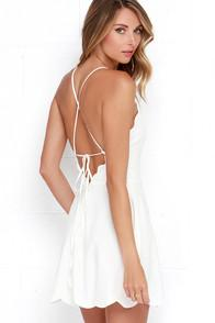 Lulus Play On Curves Ivory Backless Dress
