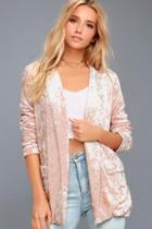Lulus Back To Your Heart Blush Pink Velvet Blazer