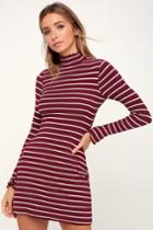 Charm Class Burgundy And White Striped Long Sleeve Dress | Lulus