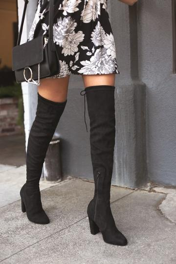 So Much Yes Black Suede Over The Knee High Heel Boots | Lulus