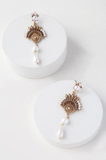 Marrakesh My Eye Gold Pearl Earrings | Lulus