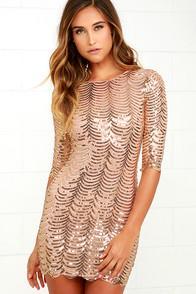 Lulus Star Dust Gold Sequin Bodycon Dress