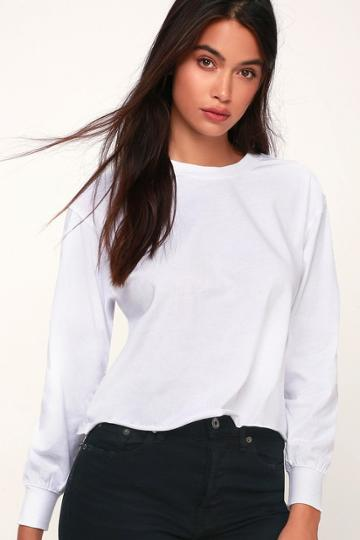 Z Supply Tatumn White Long Sleeve Cropped Tee | Lulus