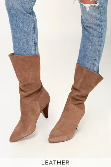 Steve Madden Rein Tan Genuine Suede Leather Slouchy Mid-calf Boot | Lulus
