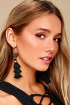 Aura Black Tassel Earrings | Lulus